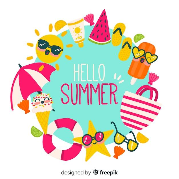 Hand drawn hello summer background Free Vector