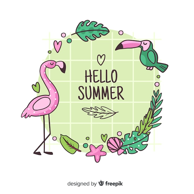 Hand drawn hello summer background Free Vector