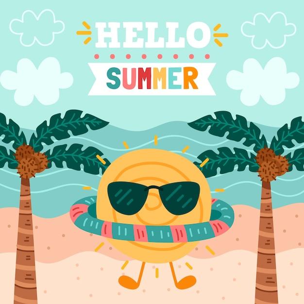 Рисованной привет концепция лето Бесплатные векторы