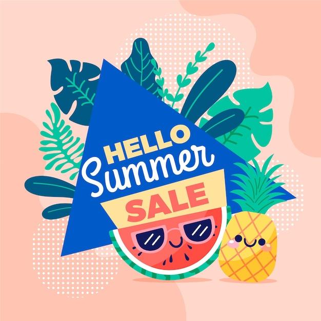 Рисованной привет летняя распродажа баннер с фруктами Бесплатные векторы