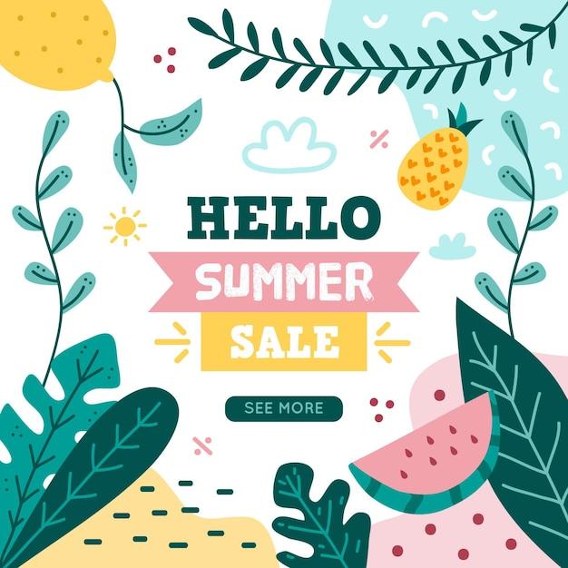 Рисованной привет летняя распродажа с листьями Бесплатные векторы