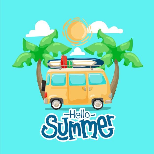 Рисованной привет лето с фургоном и пальмами Бесплатные векторы