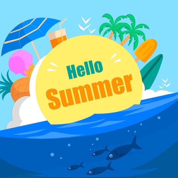 Hand drawn hello summer Free Vector