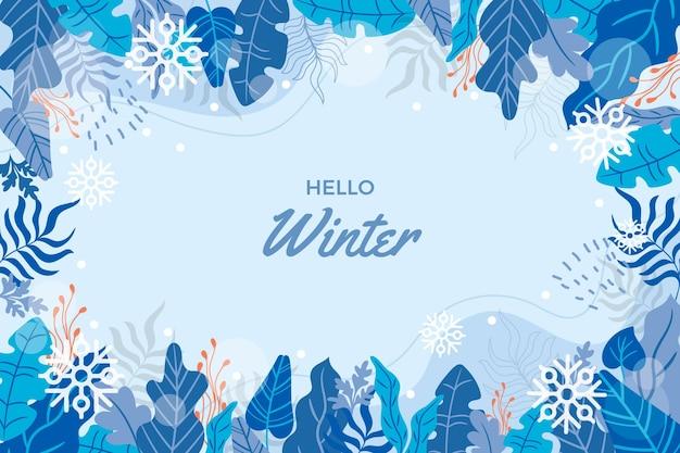 Ciao sfondo invernale disegnato a mano Vettore gratuito