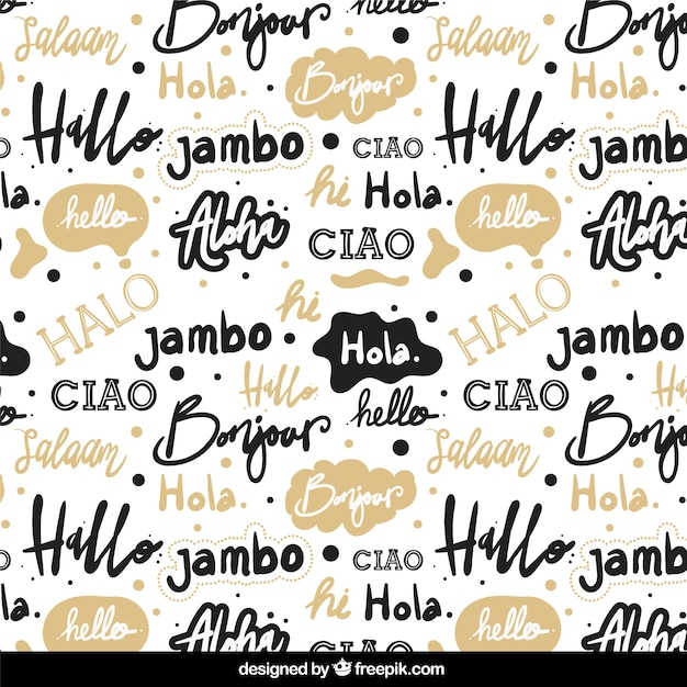 Wallpaper Helloworld: Hand Drawn Hello Word Pattern In Different Languages