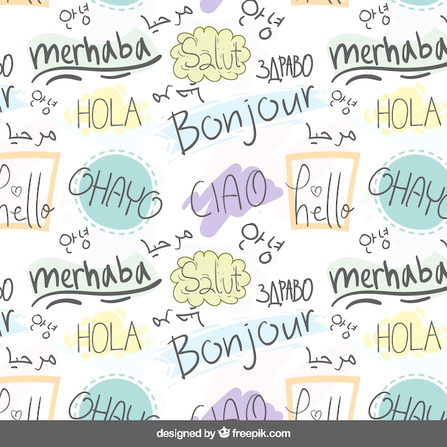 Hand drawn hello word pattern in different languages Free Vector