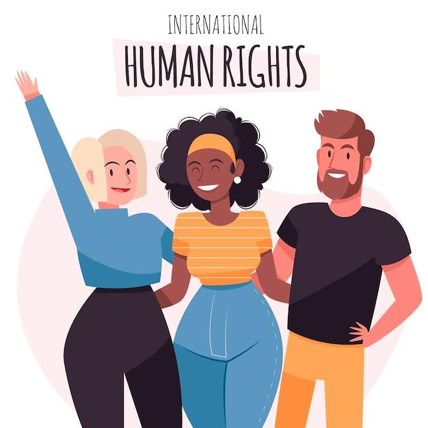 人権デーを助ける手描き 無料ベクター