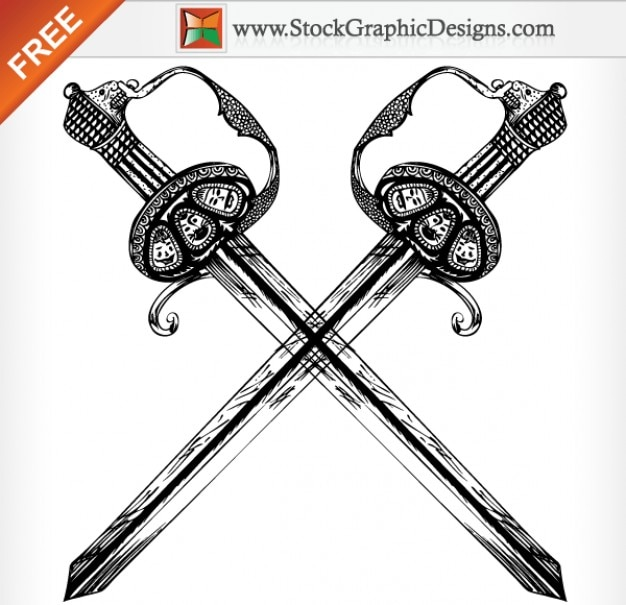 Hand Drawn Heraldic Sword Free Vector Illustration Free Vector