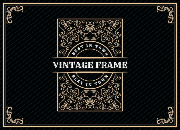Hand drawn heritage luxury vintage retro logo design with decorative frame for wedding invitation card text and font showcase premium Premium Vector
