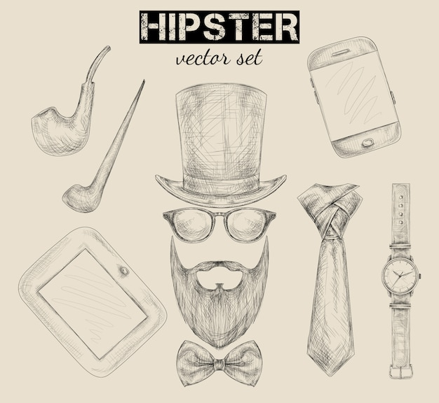 Hand drawn hipster accessories set Free Vector