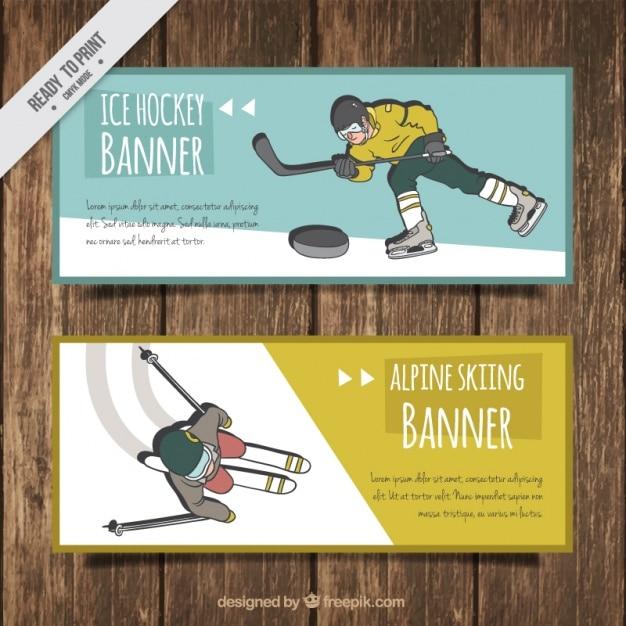 Hand drawn hockey and ski banners