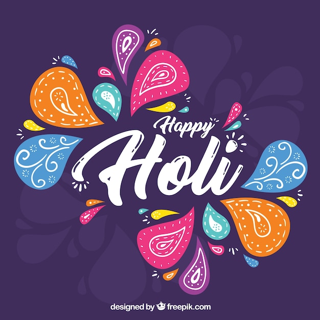 Hand drawn holi festival background  Free Vector