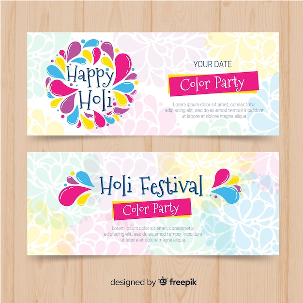 Hand drawn holi festival banners Free Vector