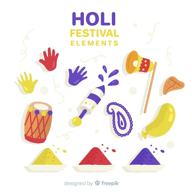 Hand drawn holi festival element collection Free Vector