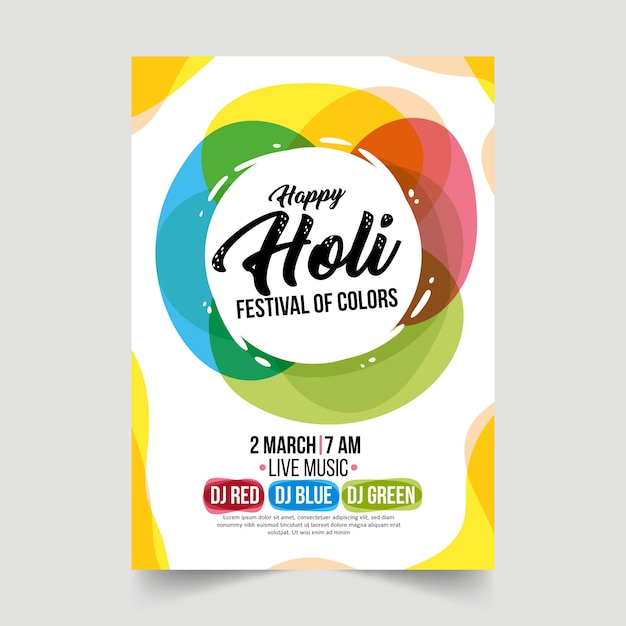 Hand drawn holi festival poster template Free Vector