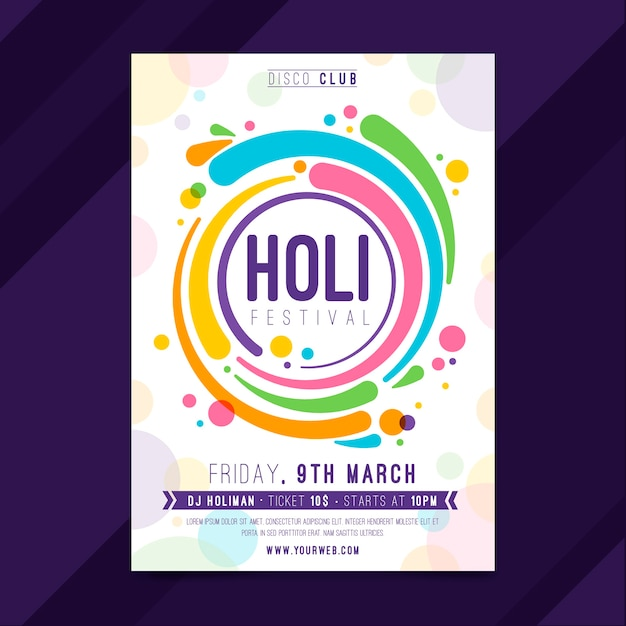 Hand drawn holi festival poster Free Vector