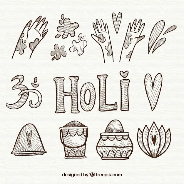 손으로 그린 holi 축제의 요소 무료 벡터
