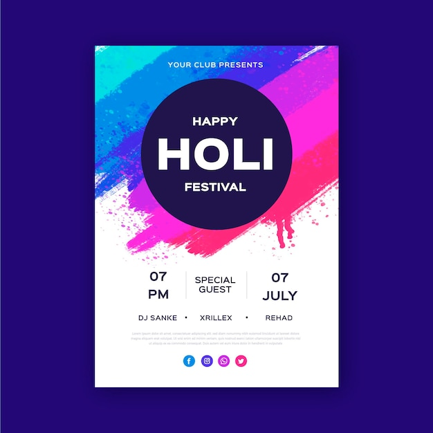 Handdrawn holi 축제 세로 포스터 템플릿 무료 벡터