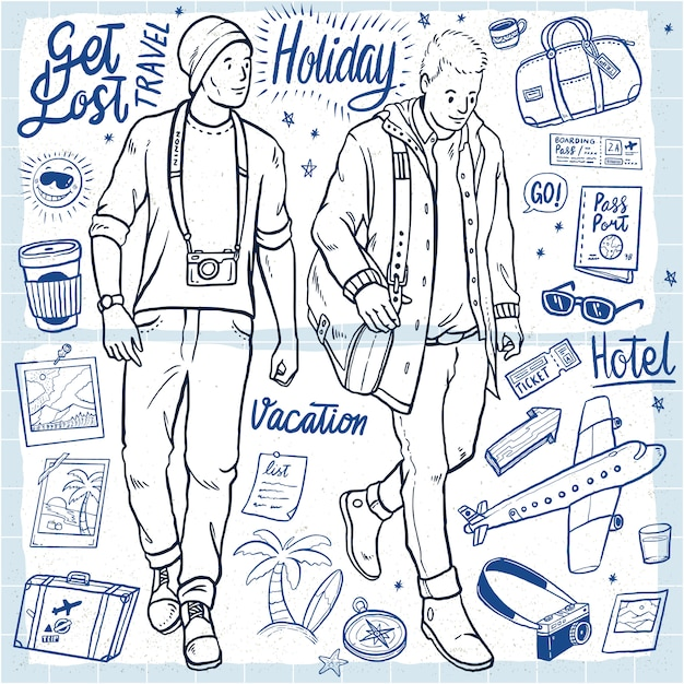 Hand drawn holiday men's outfit vacation illustration Premium Vector