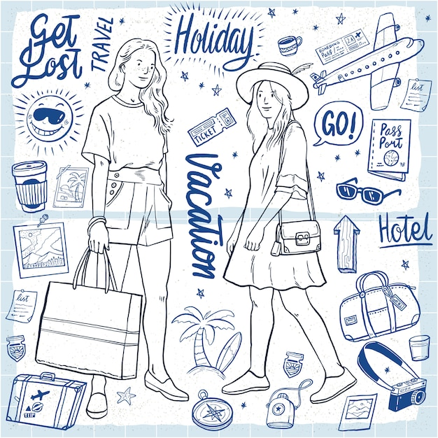Hand drawn holiday women's outfit vacation illustration Premium Vector