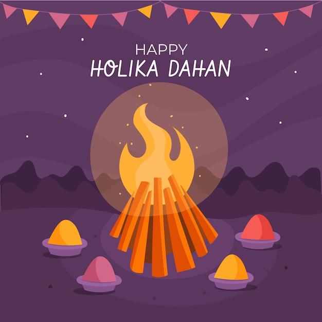 Hand-drawn holika dahan illustration with campfire and garlands Free Vector