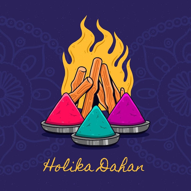 Hand-drawn holika dahan illustration with campfire Free Vector