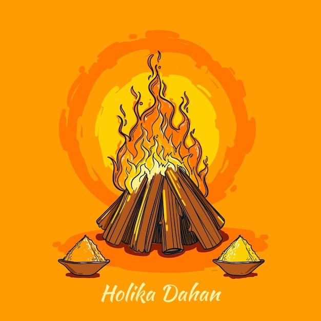 Hand-drawn holika dahan illustration with campfire Free Vector