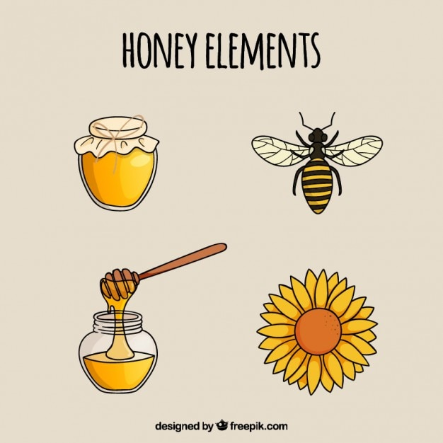 Hand Drawn Honey Elements Free Vector