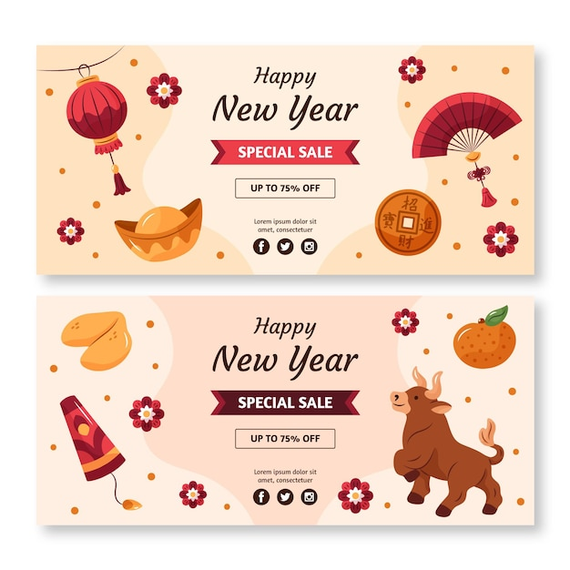 Hand-drawn horizontal banners for chinese new year Free Vector