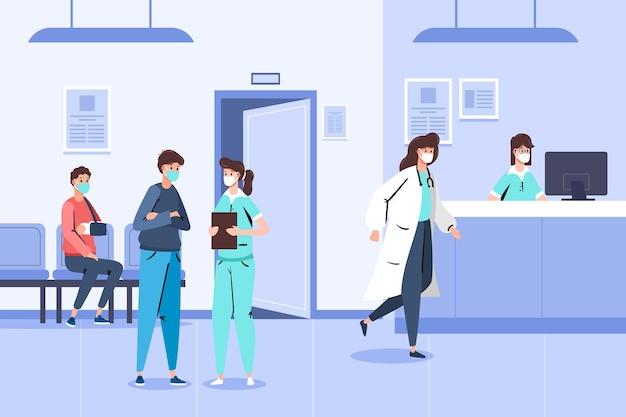Scena di accoglienza ospedaliera disegnata a mano con persone che indossano maschere mediche Vettore gratuito