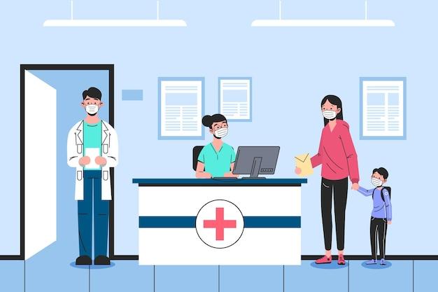 手描きの病院の受付シーン 無料ベクター