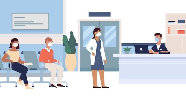 Scena di accoglienza ospedaliera disegnata a mano Vettore gratuito