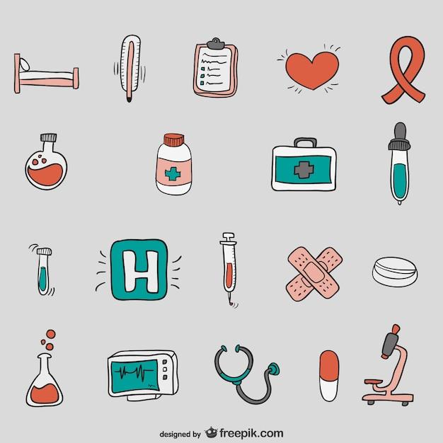 Hand drawn hospital vectors Premium Vector