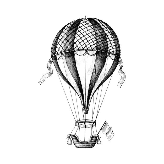 Hand drawn hot air balloon Free Vector