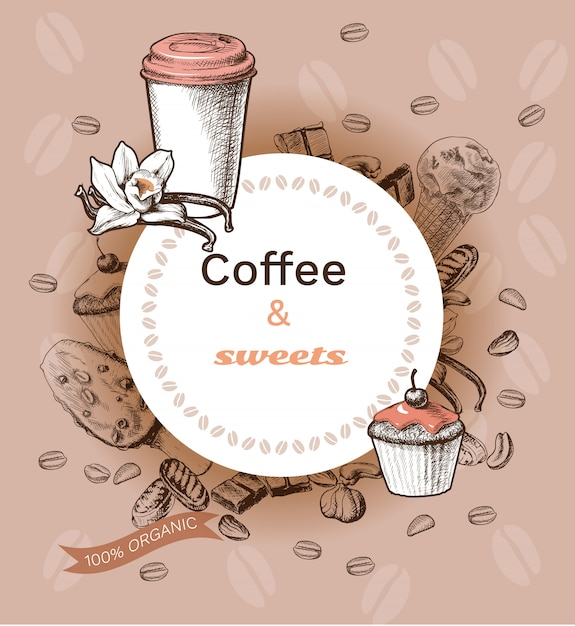 Hand drawn hot coffee template Free Vector
