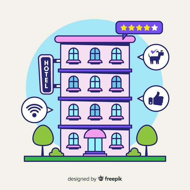 Hand drawn hotel review concept Free Vector