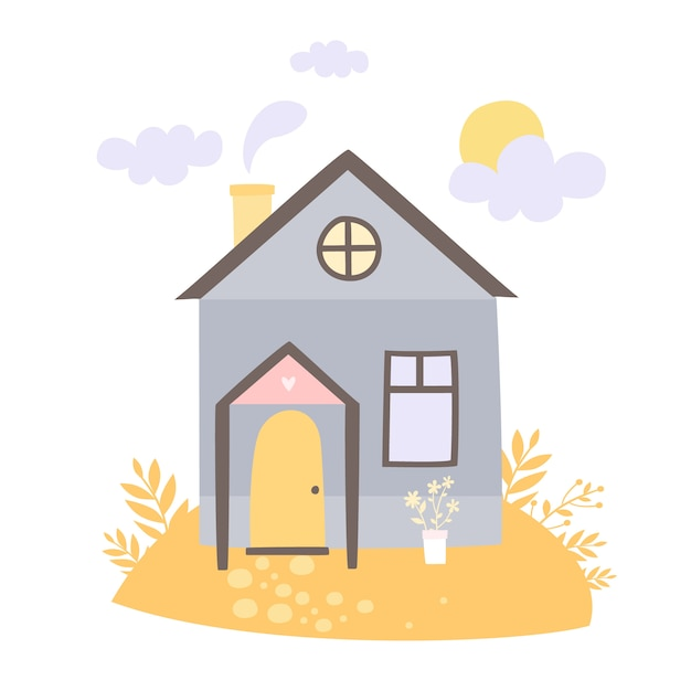Hand drawn house in the meadow Free Vector