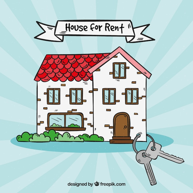 Hand drawn house for rent Free Vector