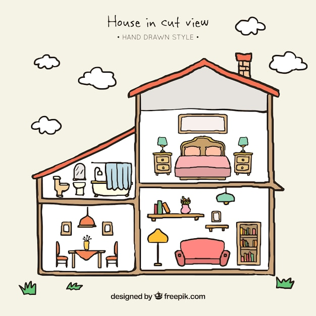 Hand-drawn House With Different Rooms Vector