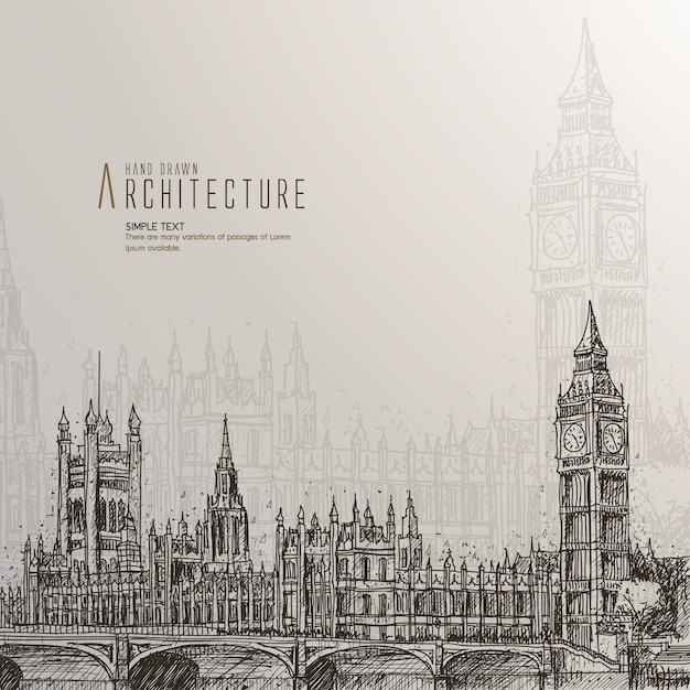 Hand drawn houses of parliament Free Vector