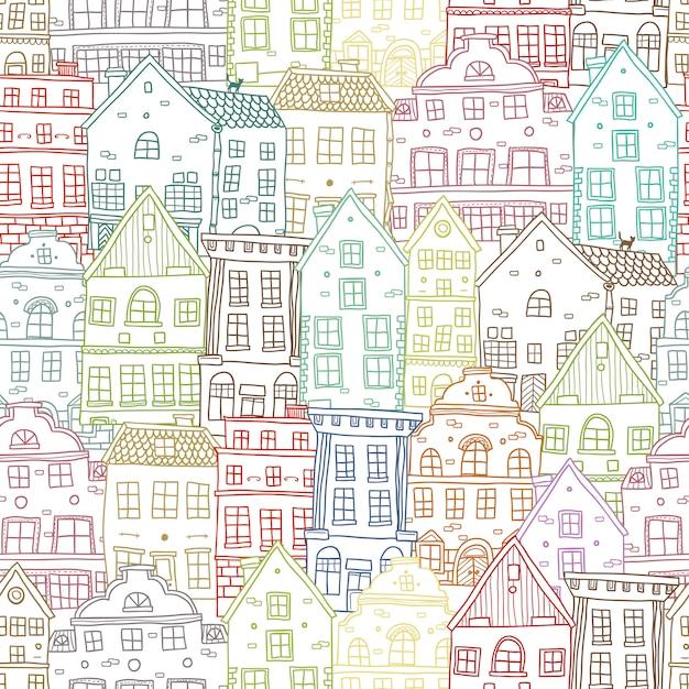 손으로 그린 하우스 원활한 패턴 무료 벡터