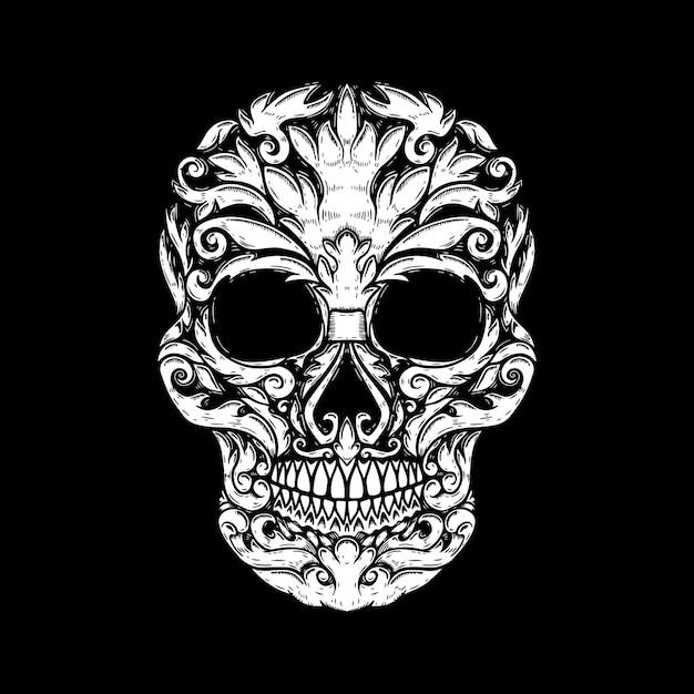 손으로 그린 인간의 해골 꽃 모양을 만들었다. 포스터, 티셔츠 디자인 요소입니다. 벡터 일러스트 레이 션 프리미엄 벡터