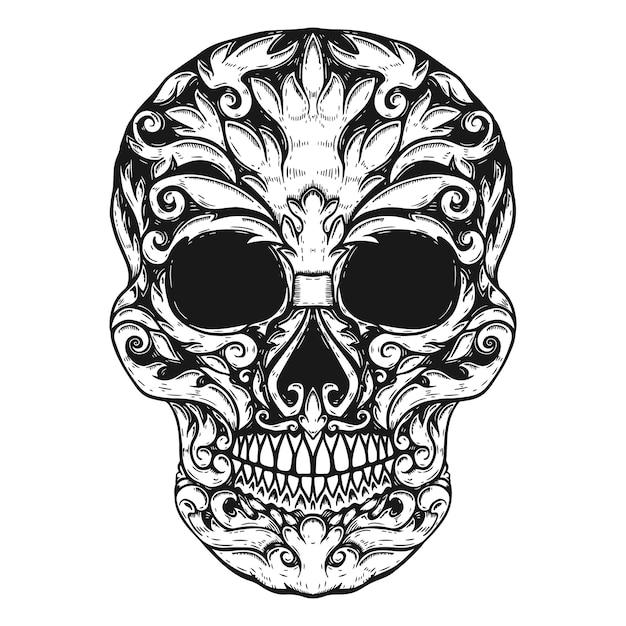 Ручной обращается человеческий череп цветочные формы. элемент для плаката, футболки. иллюстрация Premium векторы