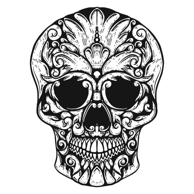 手描きの人間の頭蓋骨は花の形をしました。 Premiumベクター