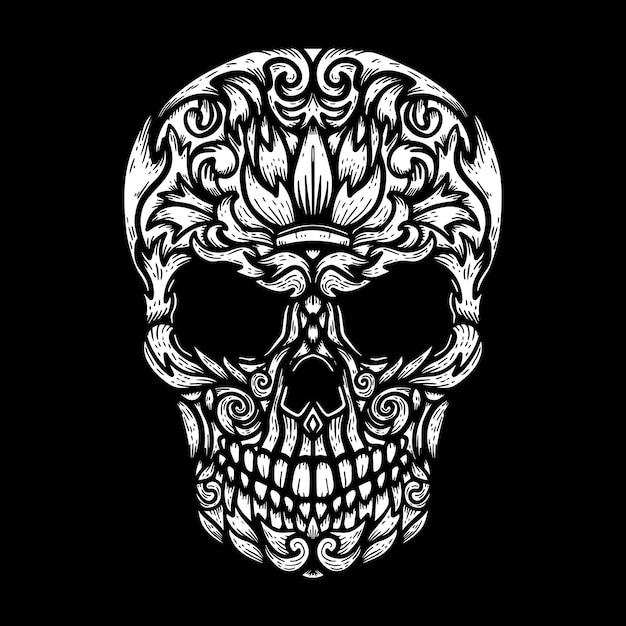 Hand drawn human skull made floral shapes Premium Vector