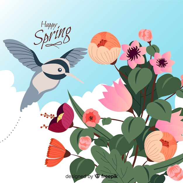 Hand drawn hummingbird spring background Free Vector