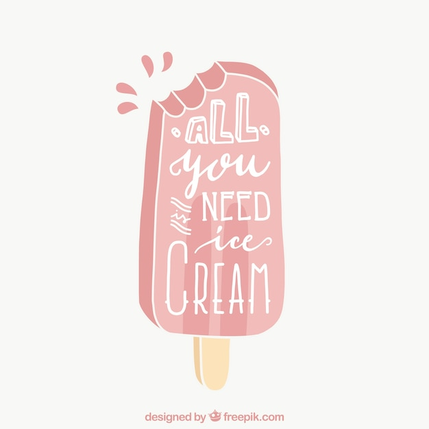 Background Of Cute Ice Cream With Phrase Vector: Hand Drawn Ice Cream Background With Nice Phrase Vector