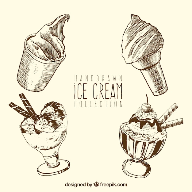 Hand-drawn ice cream collection Free Vector