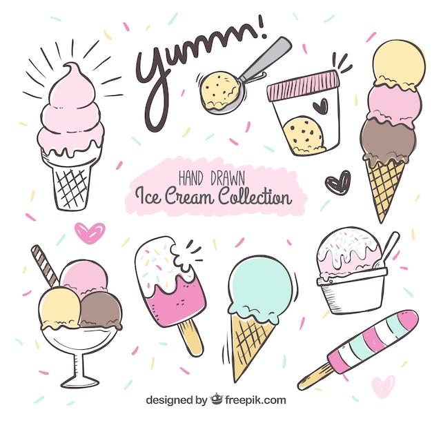 Hand-drawn ice cream set Free Vector