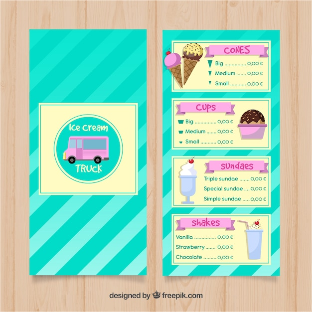 Hand drawn ice cream truck menu template Vector | Free Download